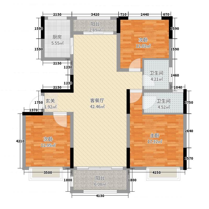 建业联盟新城(柘城)135.00㎡C户型3室3厅2卫1厨