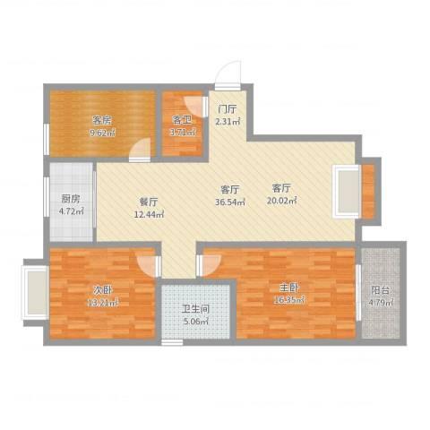 天泰文化苑2室1厅1卫1厨120.00㎡户型图