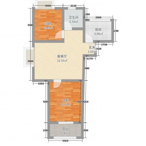 磁山温泉小镇2室2厅1卫1厨81.00㎡户型图