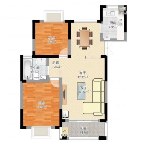 上铁银欣花园2室1厅1卫1厨85.00㎡户型图