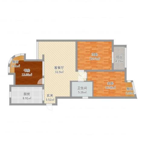 富都豪园3室2厅1卫1厨122.00㎡户型图
