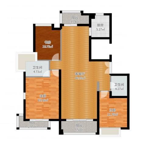 麒麟山庄3室2厅2卫1厨143.00㎡户型图
