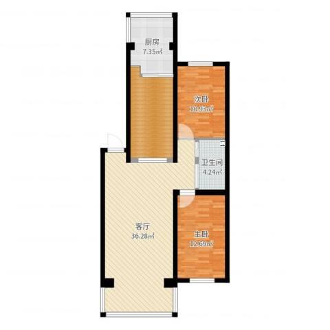 滨江花园2室1厅1卫1厨104.00㎡户型图