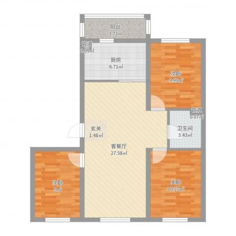 哈东上城3室2厅1卫1厨89.00㎡户型图