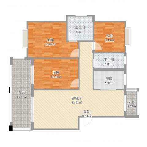 蓝庭国际3室2厅2卫1厨118.00㎡户型图