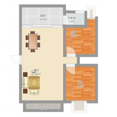 怡兰苑2室1厅1卫1厨68.00㎡户型图