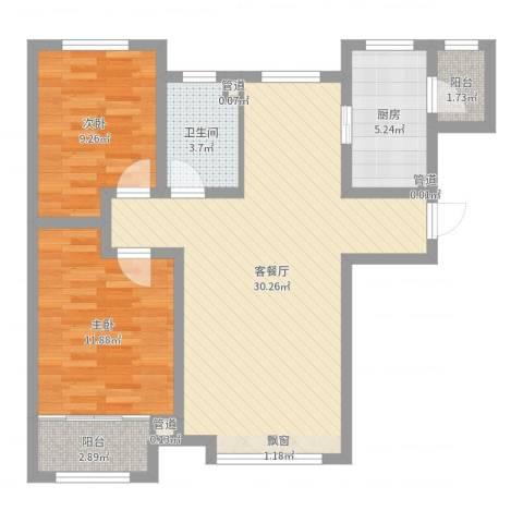 天鹅湖1号2室2厅1卫1厨81.00㎡户型图