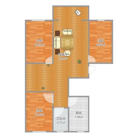 富力城3室2厅1卫1厨110.00㎡户型图