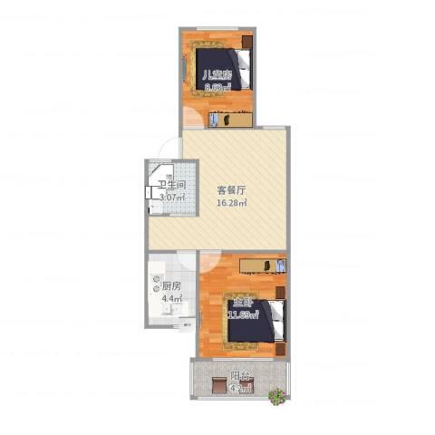 清河新寓二村2室2厅1卫1厨60.00㎡户型图