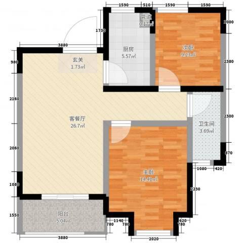 边城香榭里8号2室2厅1卫1厨81.00㎡户型图