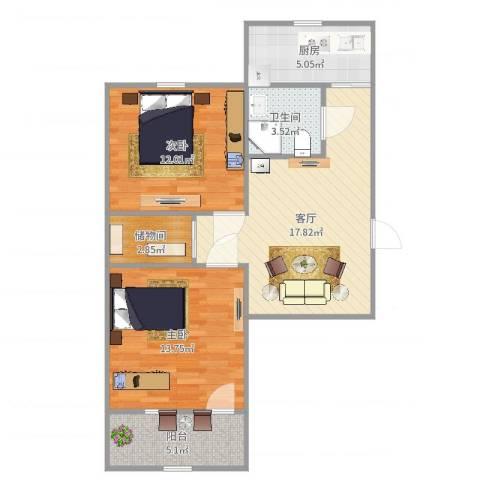 杆南小区2室1厅1卫1厨75.00㎡户型图