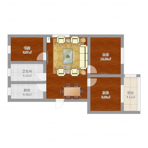 平阳一村3室1厅1卫1厨79.00㎡户型图