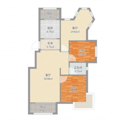 沈阳月星国际城2室2厅1卫1厨112.00㎡户型图