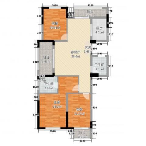 金色阳光花园3室2厅2卫1厨127.00㎡户型图