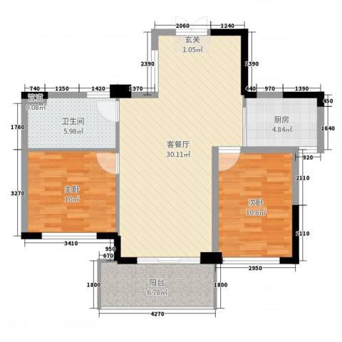金色阳光花园2室2厅1卫1厨94.00㎡户型图
