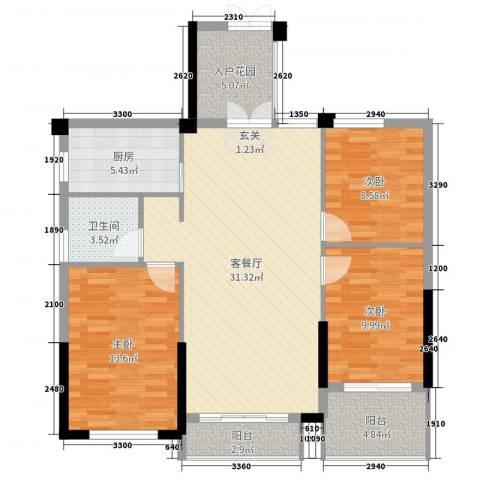 金色阳光花园3室2厅1卫1厨111.00㎡户型图