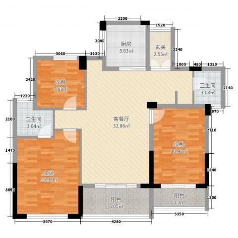 金色阳光花园3室2厅2卫1厨123.00㎡户型图