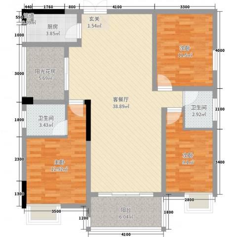 锦绣银湾3室2厅2卫1厨120.00㎡户型图