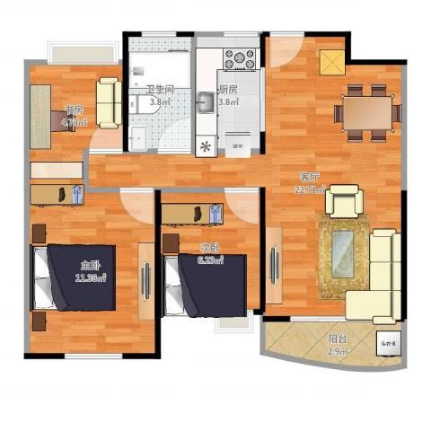 浦东颐景园3室1厅1卫1厨89.00㎡户型图