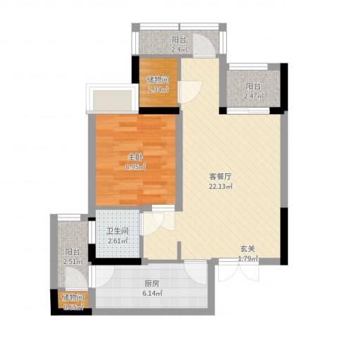 富洲新城1室2厅1卫1厨63.00㎡户型图