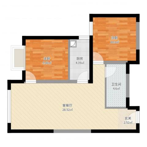 多彩嘉园2室2厅1卫1厨72.00㎡户型图