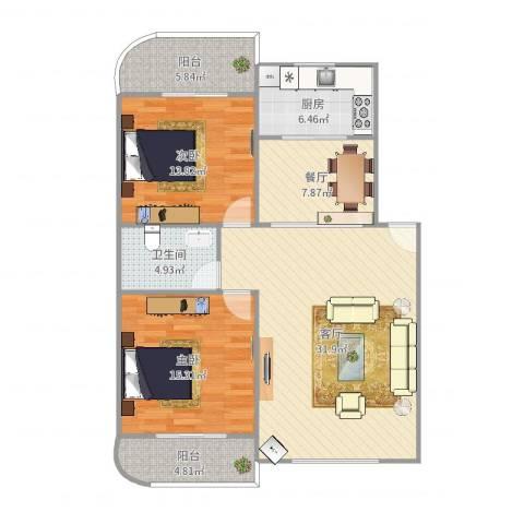 联发花园2室2厅1卫1厨114.00㎡户型图