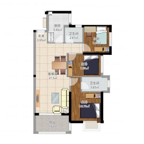 中骏蓝湾悦庭3室2厅2卫1厨88.00㎡户型图