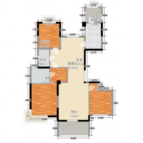 张家港中凯城市之光3室2厅2卫1厨138.00㎡户型图