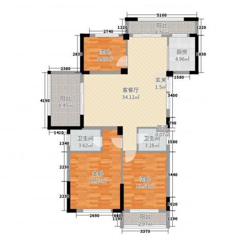 金色阳光花园3室2厅2卫1厨134.00㎡户型图