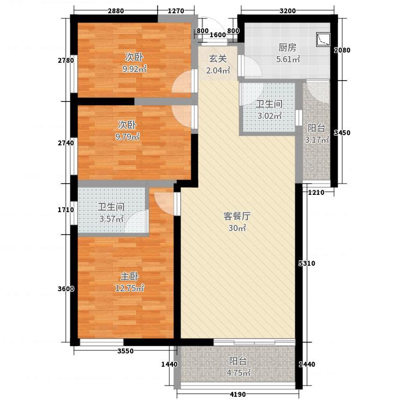 金湾花园二期107.00㎡8栋标准层E1户型3室3厅2卫1厨