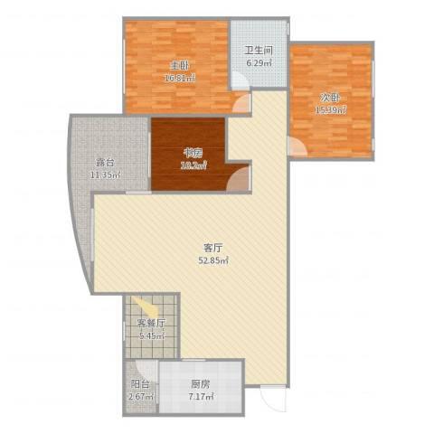 中海名城3室3厅1卫1厨128.18㎡户型图