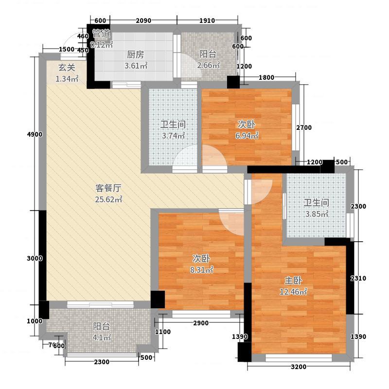 朗基少帅府81.00㎡3栋1、2单元标准层A4户型3室3厅2卫1厨