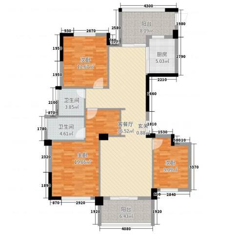 金色阳光花园3室2厅2卫1厨142.00㎡户型图