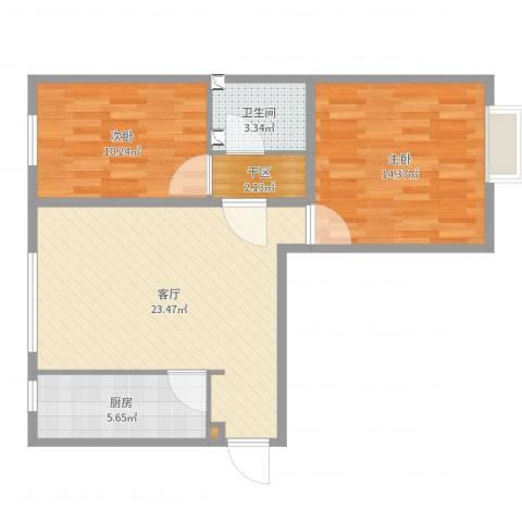 白各庄小区2室1厅1卫1厨74.00㎡户型图