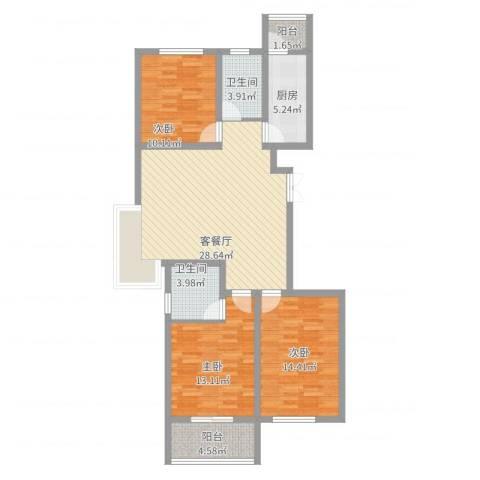 润鑫・公园壹号3室2厅2卫1厨123.00㎡户型图