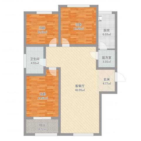 新世纪花园3室2厅1卫1厨123.00㎡户型图