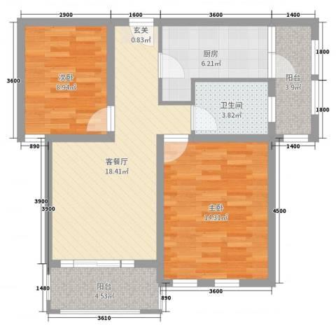 尚岛蝶院2室2厅1卫1厨140.00㎡户型图