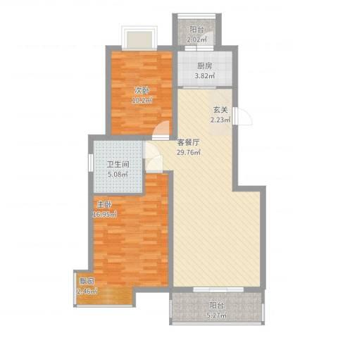 金桥慧景2室2厅1卫1厨104.00㎡户型图