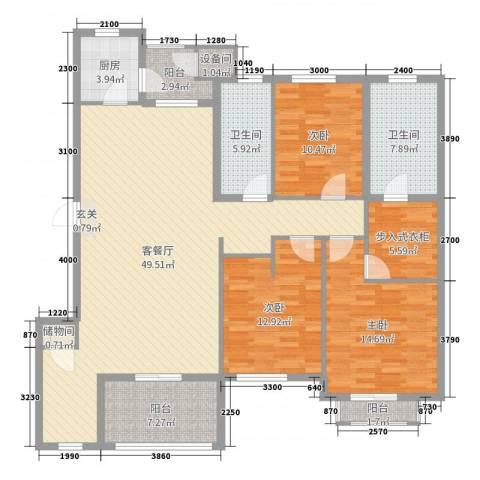 普罗旺斯3室2厅2卫1厨156.00㎡户型图