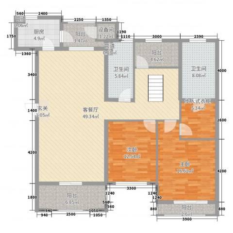 普罗旺斯2室2厅2卫1厨150.00㎡户型图