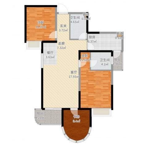 红谷凯旋3室2厅2卫1厨125.00㎡户型图
