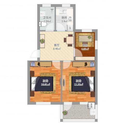 凤凰新村3室1厅1卫1厨57.00㎡户型图