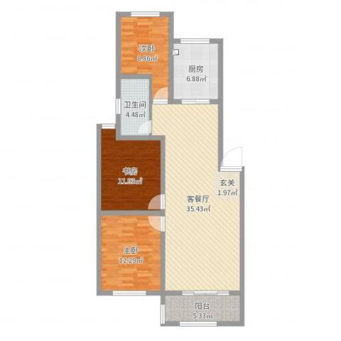一品名郡3室2厅1卫1厨106.00㎡户型图