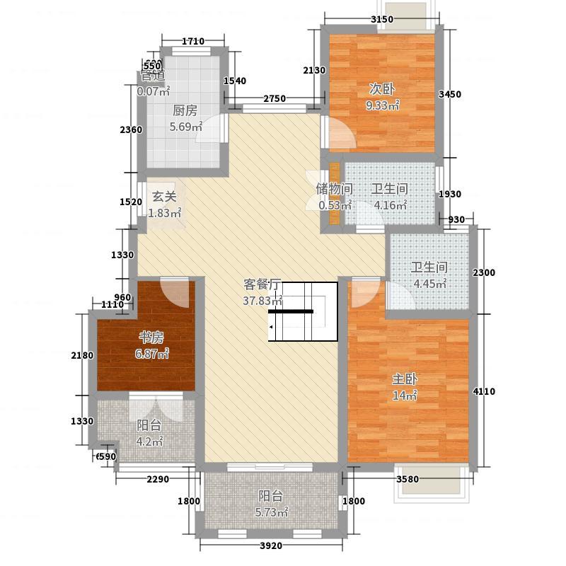 深物业湖畔御景116.00㎡二期B1户型3室3厅2卫1厨