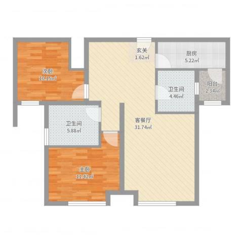 万锦香颂2室2厅2卫1厨89.00㎡户型图