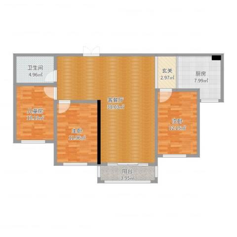 塞上江南3室2厅1卫1厨115.00㎡户型图