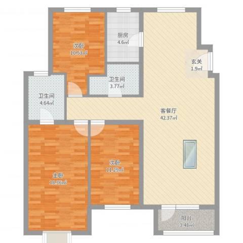 秦皇岛华润橡树湾3室2厅2卫1厨124.00㎡户型图