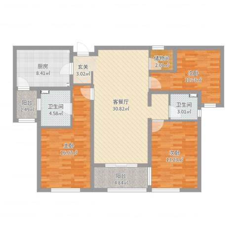 万科金域东郡3室2厅2卫1厨120.00㎡户型图