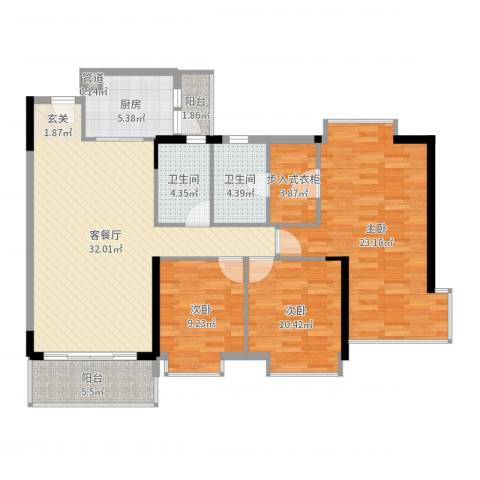 东城畔山3室2厅2卫1厨125.00㎡户型图