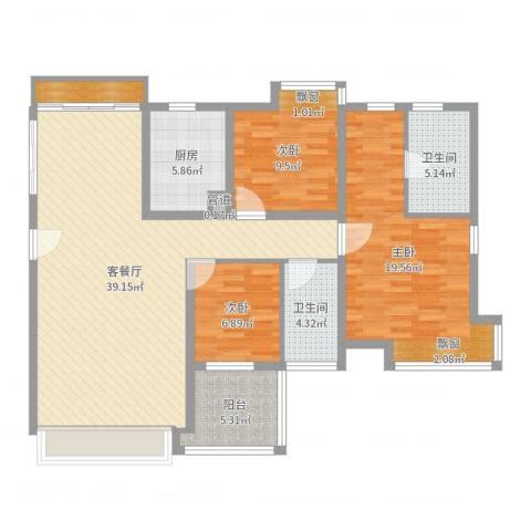 佳兆业水岸华都3室2厅2卫1厨122.00㎡户型图